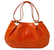 Fashionable crocodile leather handbag